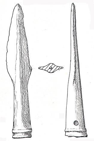 Drawing of a Bronze Age copper alloy spearhead that was found in a stream in East Beckham in 1963. Part of the wooden shaft had also survived.
