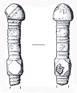 Drawing of an Early Saxon incomplete pin from East Rudham dated to the 6th to 7th century AD.
