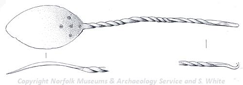 Drawing of a Middle Saxon spoon from East Rudham.
