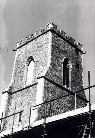Photograph of the tower of St Mary's Church, East Ruston.