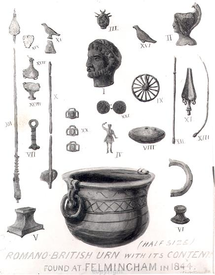 Illustration of a Roman hoard found in Felmingham in 1844.