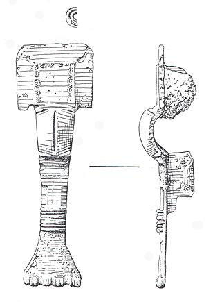 Drawing of a complete Early Saxon small long brooch from the cremation and inhumation cemetery at Saxlingham in the parish of Field Dalling. Traces of the iron pin were found in the catchplate.