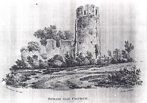 Drawing of the ruins of St Mary's Church, Burgh St Mary.