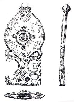 Drawing of a late Roman amphora shaped strap end with openwork decoration from Forncett.