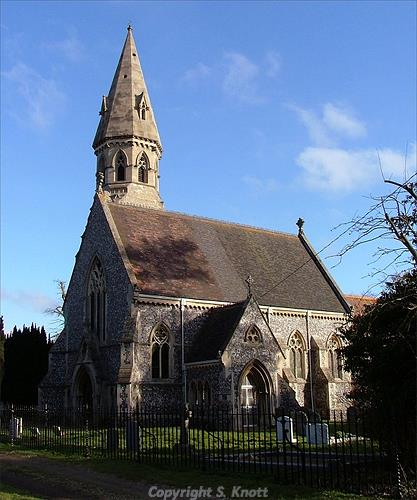 Photograph of St Andrew's Church, Framingham Pigot. The church was rebuilt in 1869 in Gothic Revival style. Photograph from www.norfolk.churches.co.uk