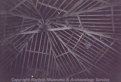 Photograph of the interior of the roof of Octagon Barn, an octagonal engine shed in the grounds of Manor Farm, Little Plumstead