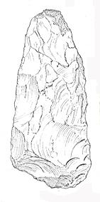 Drawing of a possible Lower Palaeolithic axe roughout from Great Melton. The object is in Birmingham Museum.
