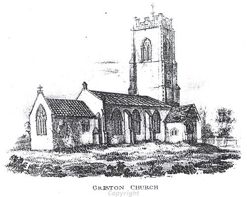 Drawing of SS Peter and Paul's Church, Griston, a medieval and post medieval church.