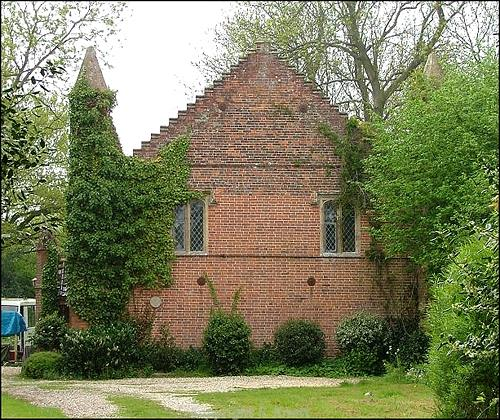The Congregational Chapel in Guestwick. This brick chapel with crowstepped gables was built in 1840. Photograph from www.norfolkchurches.co.uk