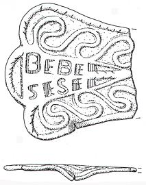 Drawing of a Roman enamelled vessel handle from Gunthorpe. The text can be translated as