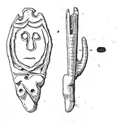 Drawing of a 9th century AD copper alloy strap end from Hainford. It depicts a zoomorphic terminal and a roughly incised human face in the frame above.