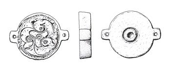 Drawing of a Roman die stamp from hanworth. The die was used to manufacture repousee plates for disc brooches.