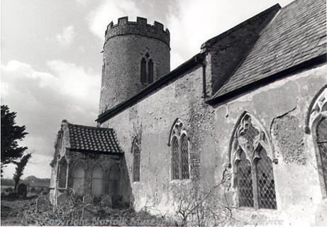 Photograph of St John the Baptist's Church, Hellington. Much money was lavished on it by the Kerdiston family in the 14th century, and although the building underwent alteration and addition in the 17th and 19th centuries, a lot of the work from this period remains.
