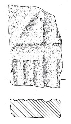 Drawing of a medieval tile found at the possible site of Loose's Hall, a medieval moated manor in Hempstead.