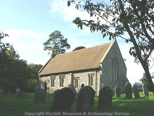 Photograph of the medieval church of St Mary, Hilborough.