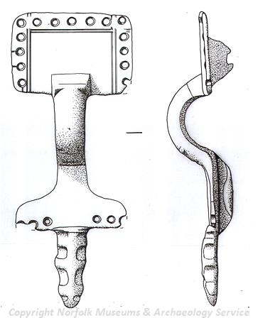 Drawing of an unusal Early Saxon small long brooch from Hillington.
