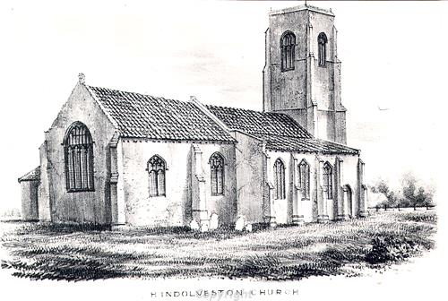 Drawing of St George's Church, Hindolveston. The church is now a ruin after the west tower collapsed and demolished the nave in 1892.