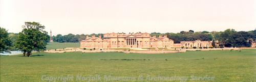 Photograph of Holkham Hall, one of the most important and influential Palladian houses in England.