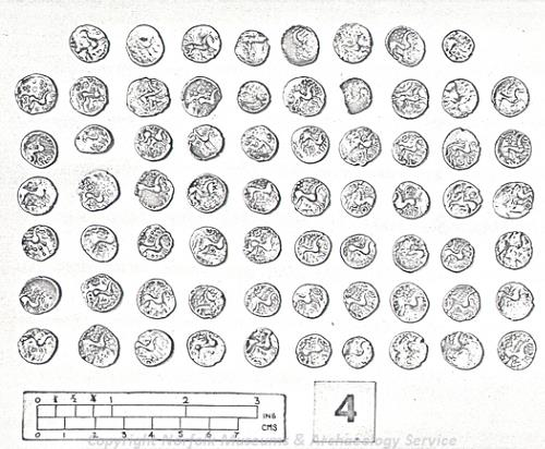 Iron Age coins from the Honingham hoard. The hoard containing over 300 silver units was found in 1954. it was buried, inside a pot, in the 1st century AD