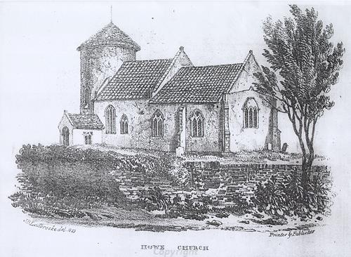 Drawing of St Mary's Church, Howe, a Late Saxon, medieval and later parish church