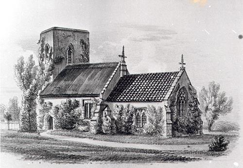 St Paul's Church, Kempstone, a Late Saxon, medieval and later parish church, drawn in the 19th century