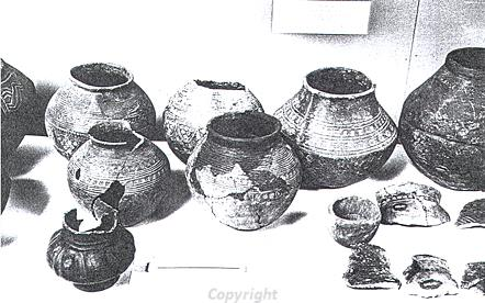 Photograph of Early Saxon cremation urns found in the 19th century in Pesnthorpe.