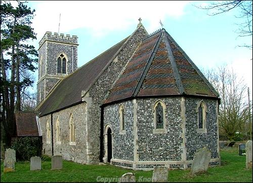 Photograph of St Margaret's Church,. Kirstead. This medieval parish church dates back to about 1200. The church was extensively remodelled in 1864, when the west tower, the chancel and the nave windows were all replaced. photograph from www.norfolkchurches.co.uk