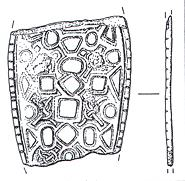 Drawing of part of a Middle to Late Saxon strap end from Langham.