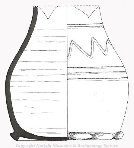 Drawing of a 14th century green glazed pottery jug from Langley.