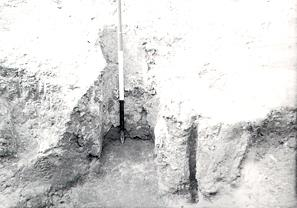 Photograph of an 2nd century AD Roman iron smelting furnace excavated in the 1950s at Leziate.