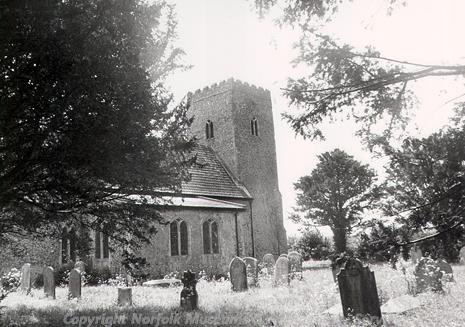 Photograph of SS Mary and All Saints' Church, Little Melton, a medieval and later parish church, with a west tower, nave, chancel, aisles and porch.