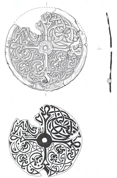 Drawing of a 10th century gilded bronze disc brooch from Little Snoring with a cross shaped layout and animals depicted between the arms of the cross.