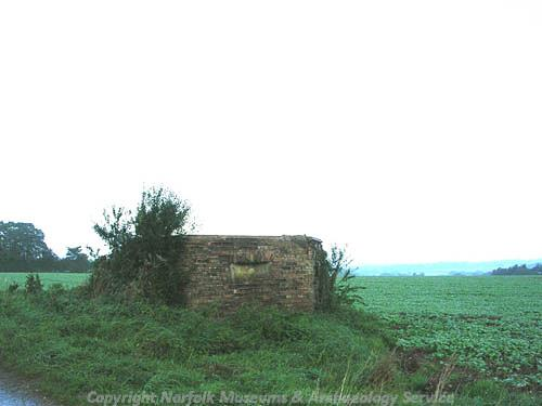 Photograph of a World War two pillbox, Lyng.