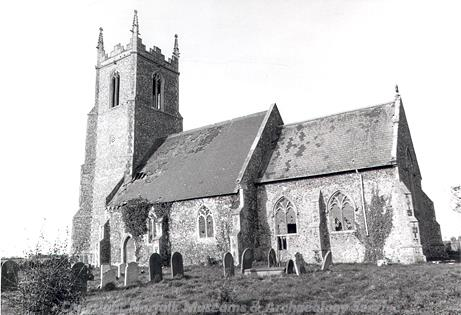 Photograph of SS Peter and Paul's Church, Mautby, a medieval parish church with a 14th century nave and chancel and a late 15th to early 16th century west tower