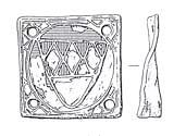 Drawing of a square copper alloy medieval mount. Traces of red and blue enamel and gilded decoration remain.