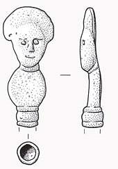 Drawing of the head of a Roman copper alloy hair pin from Narborough
