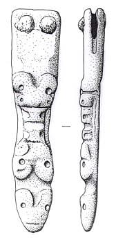 Drawing of a complete Middle to Late Saxon copper alloy strap end from Newton By Castle Acre.
