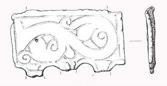 Drawing of a Late Saxon stirrup with integral plate from Ormesby St Margaret with Scratby.