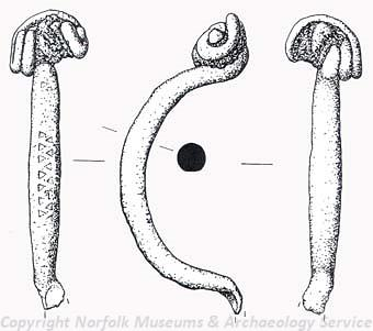 Drawing of an Iron Age La Tene type I brooch from Titchwell.
