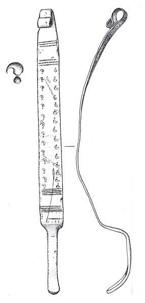 Drawing of an Early Saxon girdle hanger from Great Walsingham.