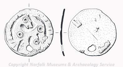 Drawing of a Late Saxon disc brooch depicting a backwards-turning beast from Wells Next the Sea.