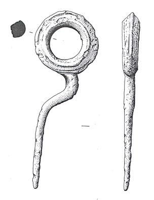 Drawing of an Iron Age ring-necked pin from West Rudham.
