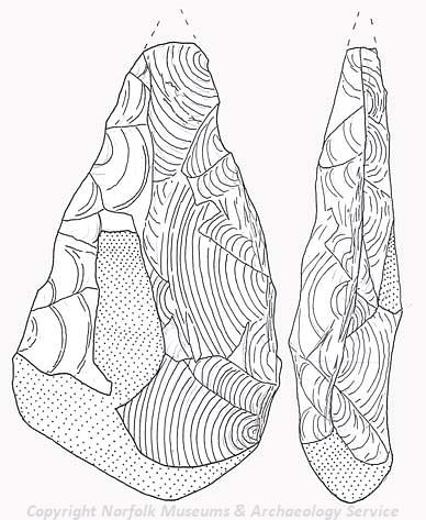 Drawing of a Palaeolithic handaxe from Plumstead.