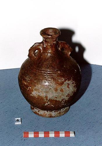 A post medieval glazed stoneware costrel found in Chapelfield Gardens, Norwich.