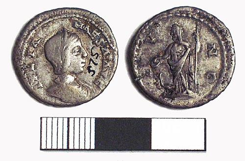 A Roman silver denarius coin of Julia Maesa from Caister-On-Sea.