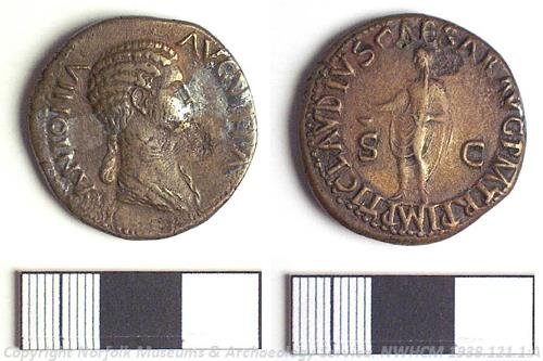 A Roman dupondius coin, perhaps from Burnham Overy.