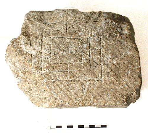 A medieval gaming board found during the development of the Castle Mall, Norwich.