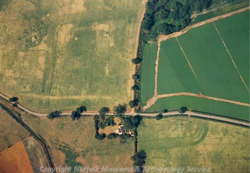 Aerial photograph of the 2nd century AD Roman fort at Saham Toney.