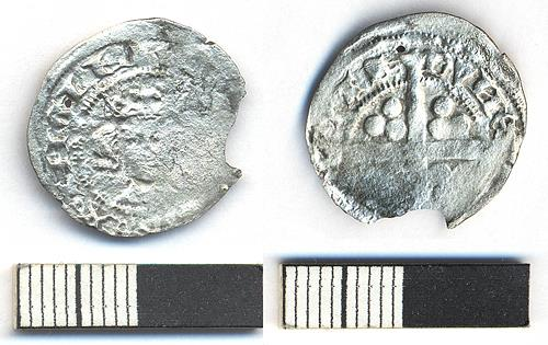 A medieval long cross penny, possibly of Edward I, found during excavations on the site of Castle Mall, Norwich.