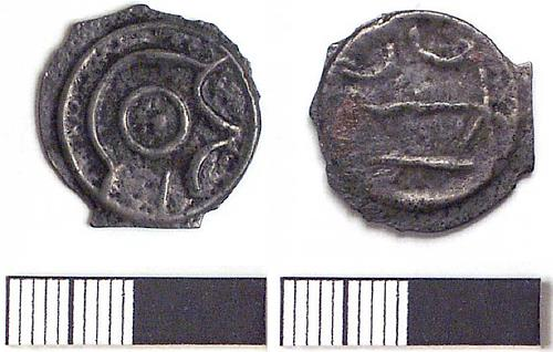 An Iron Age potin coin found at Snettisham.
